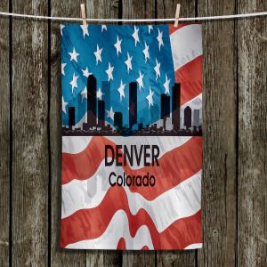 Unique Hanging Tea Towels | Angelina Vick - City VI Denver Colorado | City Skyline American Flag Stars and Stripes