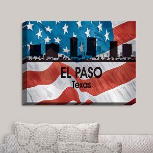 Decorative Canvas Wall Art   Angelina Vick - City VI El Paso Texas   City Skyline American Flag Stars and Stripes