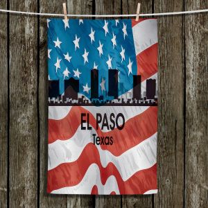 Unique Hanging Tea Towels | Angelina Vick - City VI El Paso Texas | City Skyline American Flag Stars and Stripes