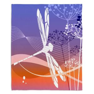 Decorative Fleece Throw Blankets | Angelina Vick - Flight Pattern 4 Cyan | Dragonfly graphic nature insect