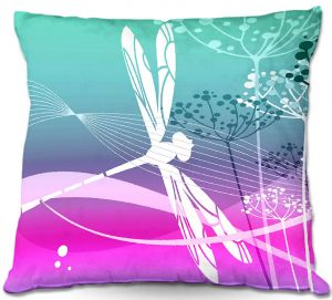 Decorative Outdoor Patio Pillow Cushion | Angelina Vick - Flight Pattern III Dragonfly