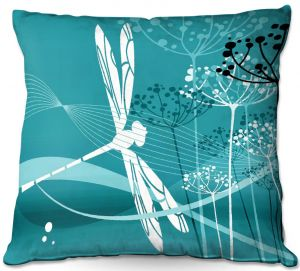 Unique Outdoor Pillow 16X16 from DiaNoche Designs by Angelina Vick - Flight Pattern 4 Cyan
