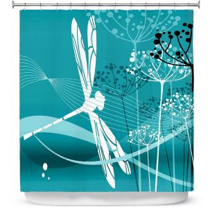 Premium Shower Curtains | Angelina Vick - Flight Pattern 4 Cyan | Dragonfly graphic nature insect