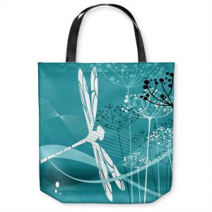 Unique Shoulder Bag Tote Bags | Angelina Vick - Flight Pattern 4 Cyan | Dragonfly graphic nature insect
