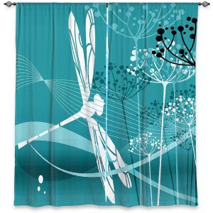Decorative Window Treatments | Angelina Vick - Flight Pattern 4 Cyan | Dragonfly graphic nature insect