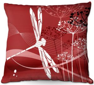 Decorative Outdoor Patio Pillow Cushion | Angelina Vick - Flight Pattern 5 Red | Dragonfly graphic nature insect