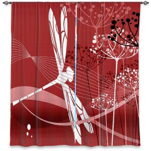 Decorative Window Treatments | Angelina Vick - Flight Pattern 5 Red | Dragonfly graphic nature insect