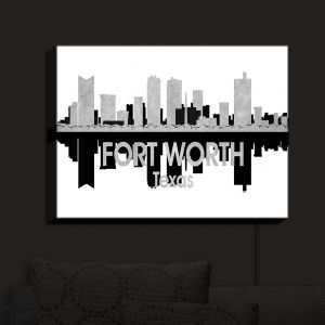 Nightlight Sconce Canvas Light | Angelina Vick - City IV Fort Worth Texas | City Skyline Mirror Image
