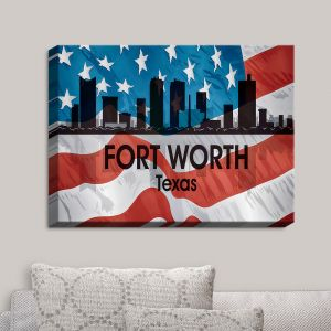 Decorative Canvas Wall Art | Angelina Vick - City VI Fort Worth Texas | City Skyline American Flag Stars and Stripes