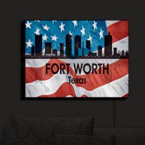 Nightlight Sconce Canvas Light | Angelina Vick - City VI Fort Worth Texas | City Skyline American Flag Stars and Stripes