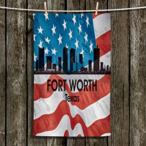 Unique Hanging Tea Towels | Angelina Vick - City VI Fort Worth Texas | City Skyline American Flag Stars and Stripes