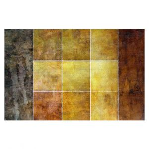 Decorative Floor Covering Mats   Angelina Vick - Gold   Abstract shapes rectangle