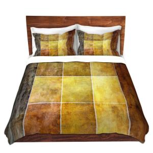 Artistic Duvet Covers and Shams Bedding | Angelina Vick - Gold | Abstract shapes rectangle
