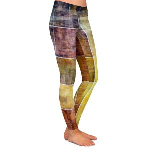 Casual Comfortable Leggings | Angelina Vick - Gold Shades | Abstract shapes rectangle