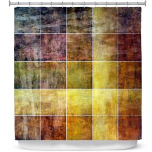 Premium Shower Curtains | Angelina Vick - Gold Shades | Abstract shapes rectangle
