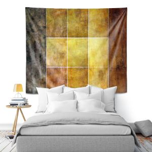 Artistic Wall Tapestry | Angelina Vick - Gold | Abstract shapes rectangle