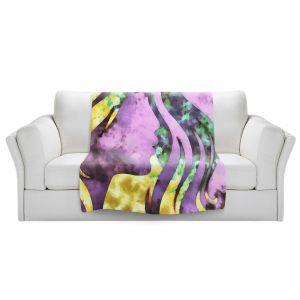 Artistic Sherpa Pile Blankets | Angelina Vick - Goodbye Purple | profile face silhouette