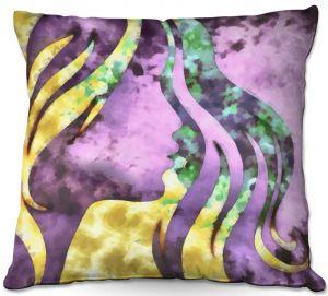 Decorative Outdoor Patio Pillow Cushion | Angelina Vick - Goodbye Purple | profile face silhouette