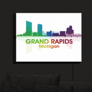 Nightlight Sconce Canvas Light | Angelina Vick - City I Grand Rapids Michigan | Skyline Downtown Grand Rapids Colorful