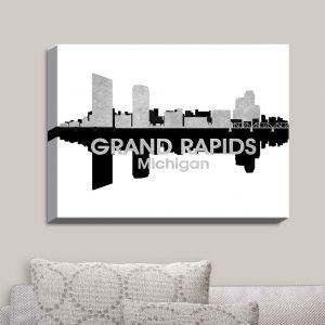 Decorative Canvas Wall Art   Angelina Vick - City IV Grand Rapids Michigan   City Skyline Mirror Image
