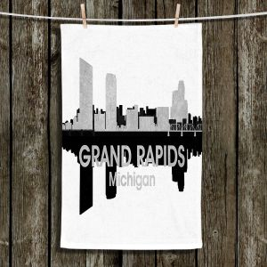 Unique Hanging Tea Towels | Angelina Vick - City IV Grand Rapids Michigan | City Skyline Mirror Image