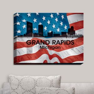 Decorative Canvas Wall Art | Angelina Vick - City VI Grand Rapids Michigan | City Skyline American Flag Stars and Stripes