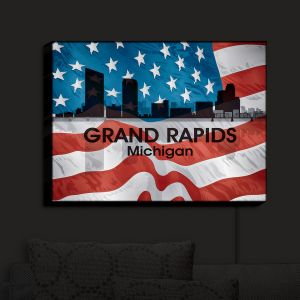 Nightlight Sconce Canvas Light | Angelina Vick - City VI Grand Rapids Michigan | City Skyline American Flag Stars and Stripes