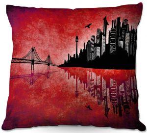 Decorative Outdoor Patio Pillow Cushion | Angelina Vick - Hubris Manking Fire | Cityscape skyline reflection bridge bird