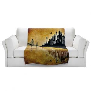Artistic Sherpa Pile Blankets   Angelina Vick - Hubris Mankind Gold   Cityscape skyline reflection bridge bird