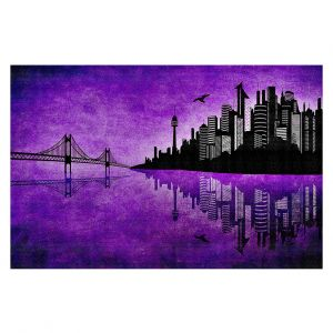 Decorative Floor Covering Mats | Angelina Vick - Hubris Manking Violet | Cityscape skyline reflection bridge bird