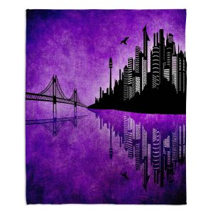 Artistic Sherpa Pile Blankets | Angelina Vick - Hubris Manking Violet | Cityscape skyline reflection bridge bird