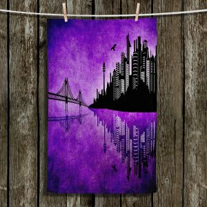 Unique Hanging Tea Towels   Angelina Vick - Hubris Manking Violet   Cityscape skyline reflection bridge bird