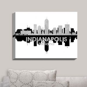 Decorative Canvas Wall Art | Angelina Vick - City IV Indianapolis Indiana | City Skyline Mirror Image