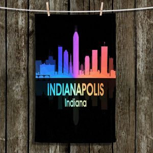 Unique Hanging Tea Towels | Angelina Vick - City V Indianapolis Indiana | Skyline Downtown Indianapolis