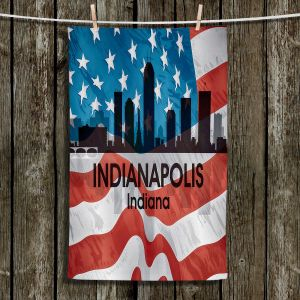 Unique Hanging Tea Towels | Angelina Vick - City VI Indianapolis Indiana | City Skyline American Flag Stars and Stripes