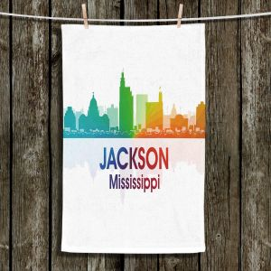 Unique Hanging Tea Towels | Angelina Vick - City I Jackson Mississippi | Skyline Downtown Jackson Colorful