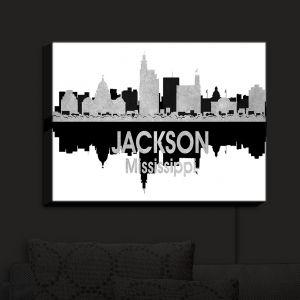 Nightlight Sconce Canvas Light | Angelina Vick - City IV Jackson Mississippi | City Skyline Mirror Image