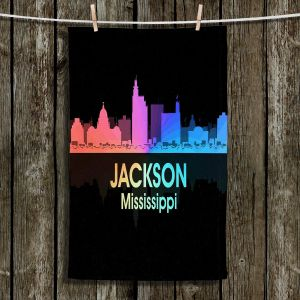 Unique Hanging Tea Towels | Angelina Vick - City V Jackson Mississippi | Skyline Downtown Jackson Colorful