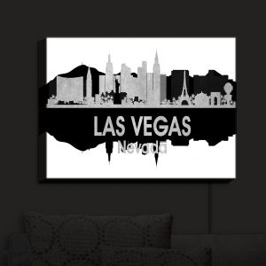 Nightlight Sconce Canvas Light | Angelina Vick - City IV Las Vegas Nevada | City Skyline Mirror Image