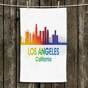 Unique Hanging Tea Towels | Angelina Vick - City I Los Angeles California | Skyline Downtown LA