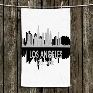 Unique Hanging Tea Towels | Angelina Vick - City IV Los Angeles California | City Skyline Mirror Image