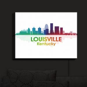 Nightlight Sconce Canvas Light | Angelina Vick - City I Louisville Kentucky | Skyline Downtown Louisville Colorful