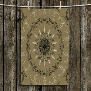 Unique Bathroom Towels | Angelina Vick - Medallion 1 Olive | mandala circle geometric pattern