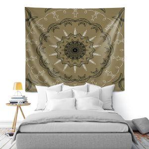 Artistic Wall Tapestry | Angelina Vick - Medallion 1 Olive | mandala circle geometric pattern