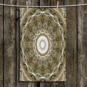 Unique Hanging Tea Towels | Angelina Vick - Medallion 2 Olive | mandala circle geometric pattern
