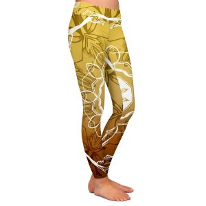 Casual Comfortable Leggings | Angelina Vick - Medallion 3 Gold | mandala circle geometric pattern