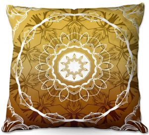 Decorative Outdoor Patio Pillow Cushion | Angelina Vick - Medallion 3 Gold | mandala circle geometric pattern