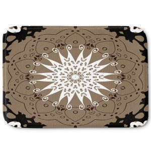 Decorative Bathroom Mats | Angelina Vick - Medallion 4 Tan | mandala circle geometric pattern