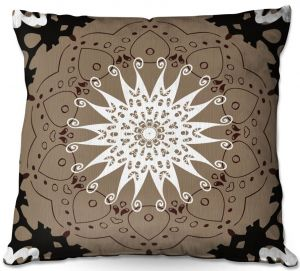 Unique Throw Pillows from DiaNoche Designs by Angelina Vick - Medallion 4 Tan   20X20