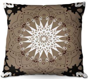 Decorative Outdoor Patio Pillow Cushion | Angelina Vick - Medallion 4 Tan | mandala circle geometric pattern